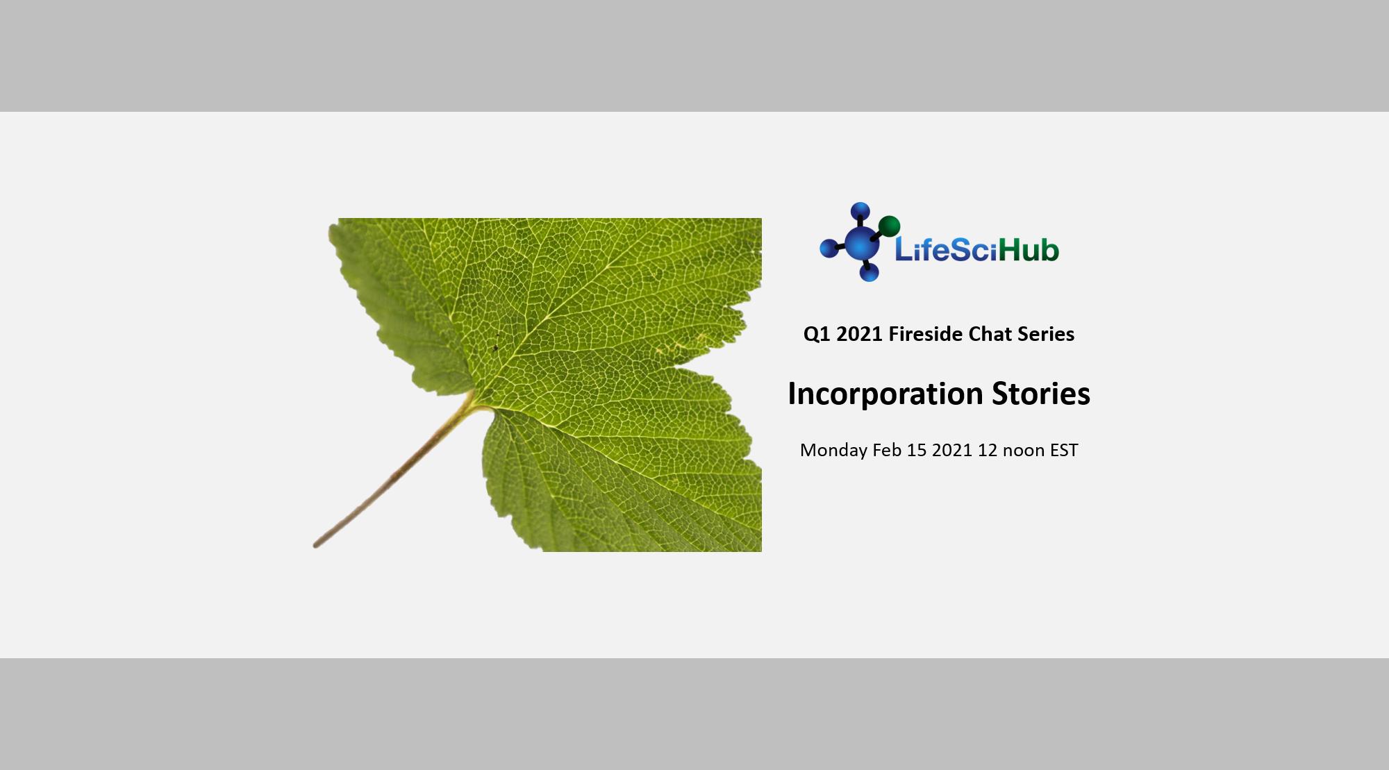 LifeSciHub Fireside Chat series:  Incorporation Stories